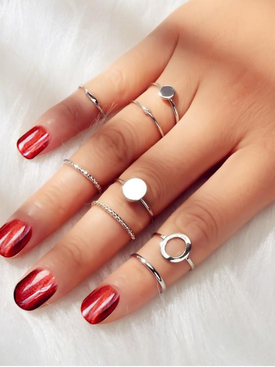 fashion Rhinestone Alloy Circle Rings Set - SILVER