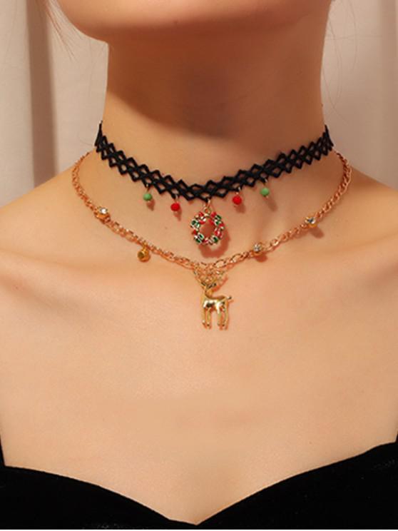 womens 2Pcs Christmas Deer Choker Necklace Set - GOLD
