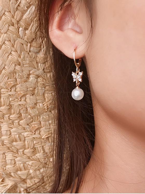 women Faux Pearl Butterfly Drop Earrings - GOLD