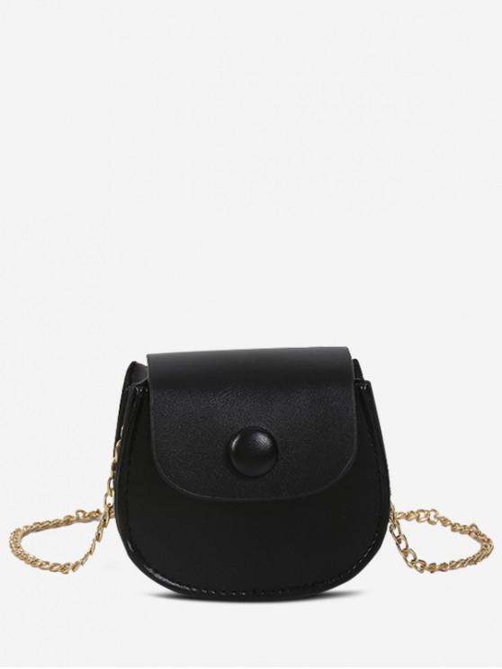 online Solid Saddle Shoulder Bag - BLACK