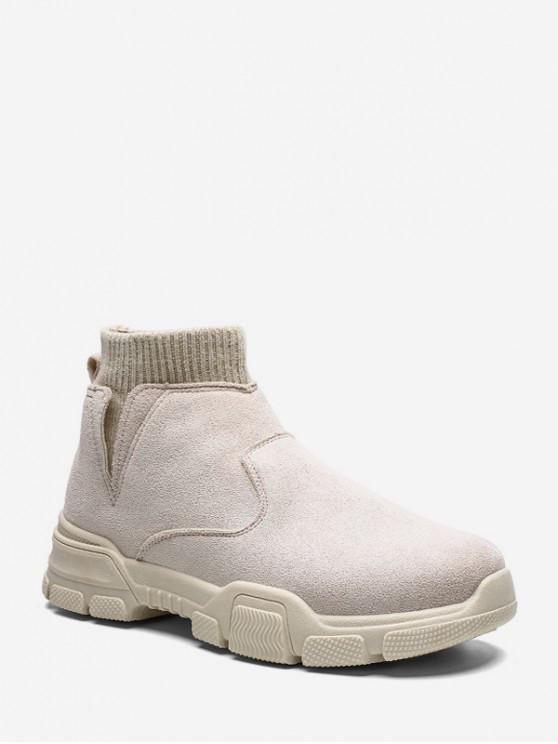 fashion Slip On Brushed Patch Sock Boots - BEIGE EU 43