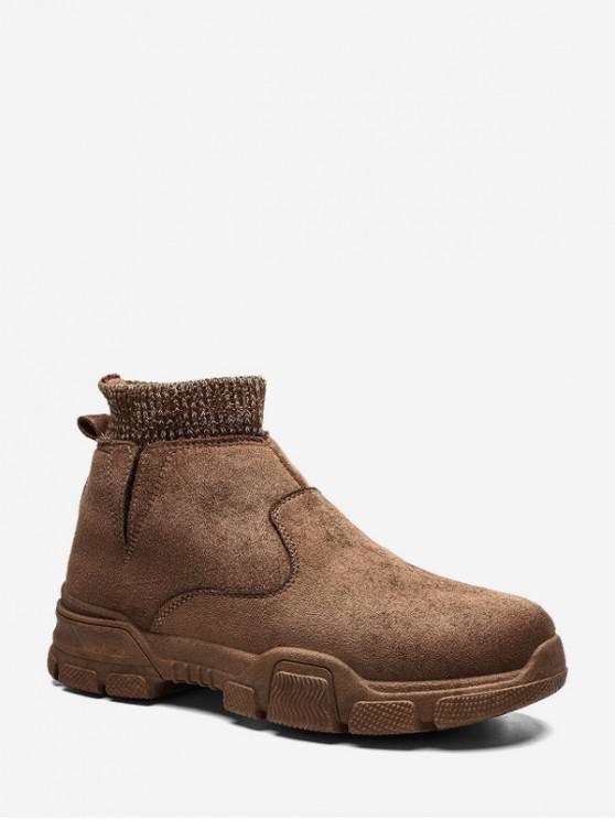 fancy Slip On Brushed Patch Sock Boots - CAMEL BROWN EU 44