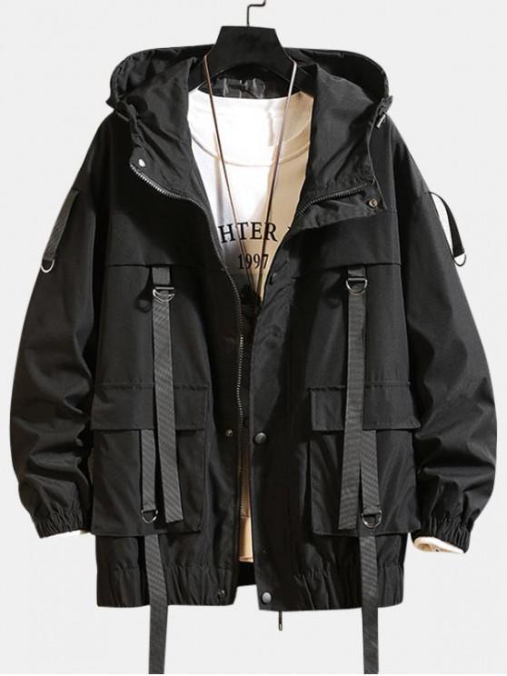 ソリッドカラーポケット装飾フード付きジャケット - ブラック L