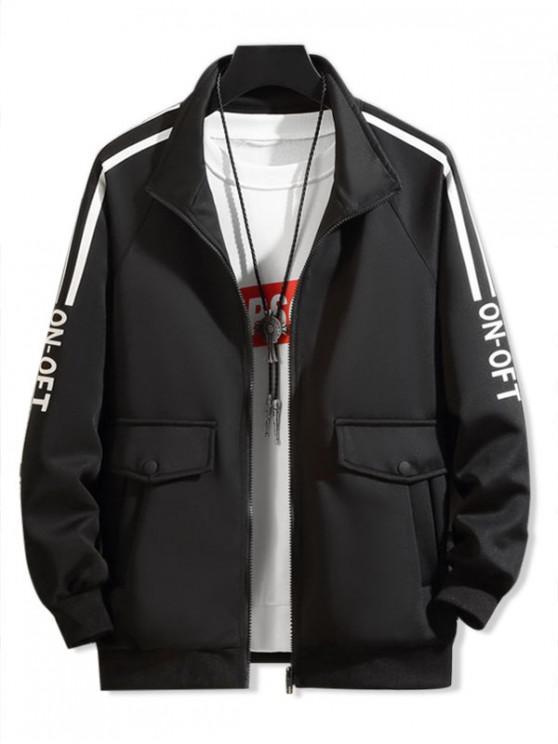 sale Pocket Design Letter Printed Zipper Jacket - BLACK XS