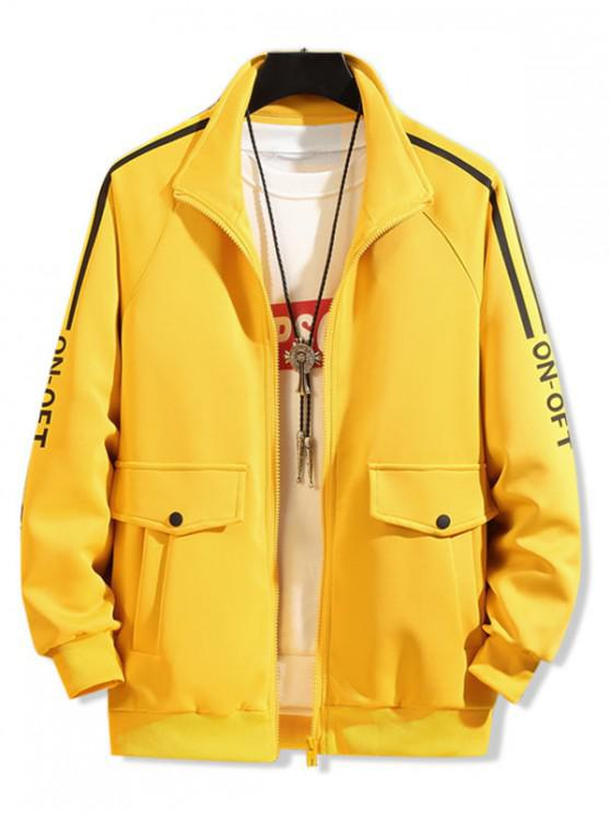 outfits Pocket Design Letter Printed Zipper Jacket - YELLOW XL