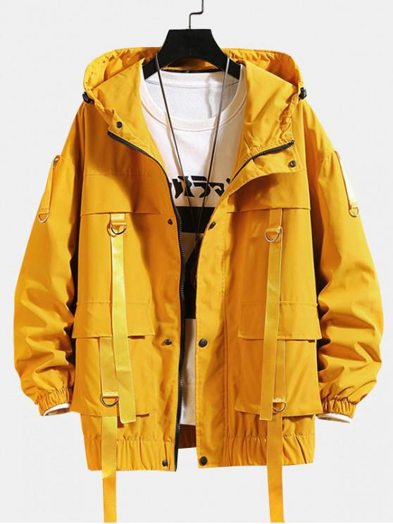 best Solid Color Pocket Decorated Hooded Jacket - YELLOW M