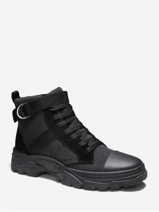 outfits Brushed Belted Accent Cargo Canvas Boots - BLACK EU 41