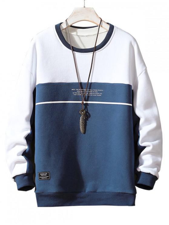 Zweifärbiges Gespleißter Buchstabe Druck Applikationen Sweatshirt - Blau M
