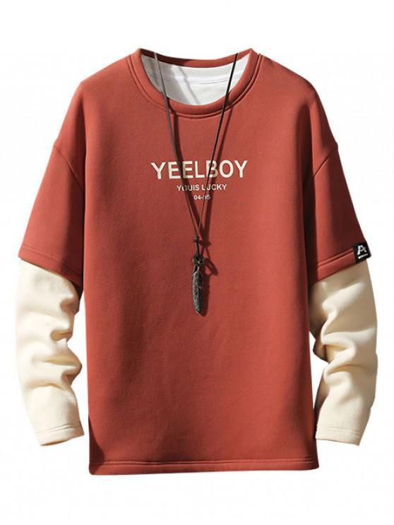 chic Color Blocking Letter Print Faux Twinset Fleece Sweatshirt - CHESTNUT RED 4XL