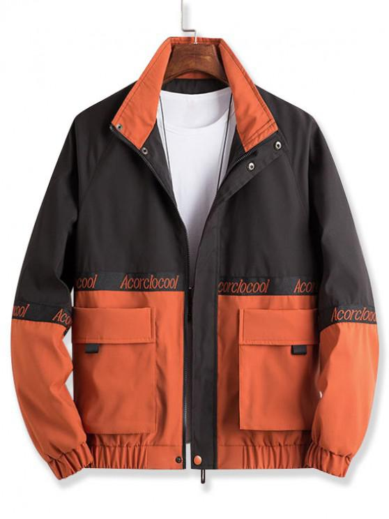 hot Colorblock Spliced Embroidery Letter Character Jacket - MANGO ORANGE XL