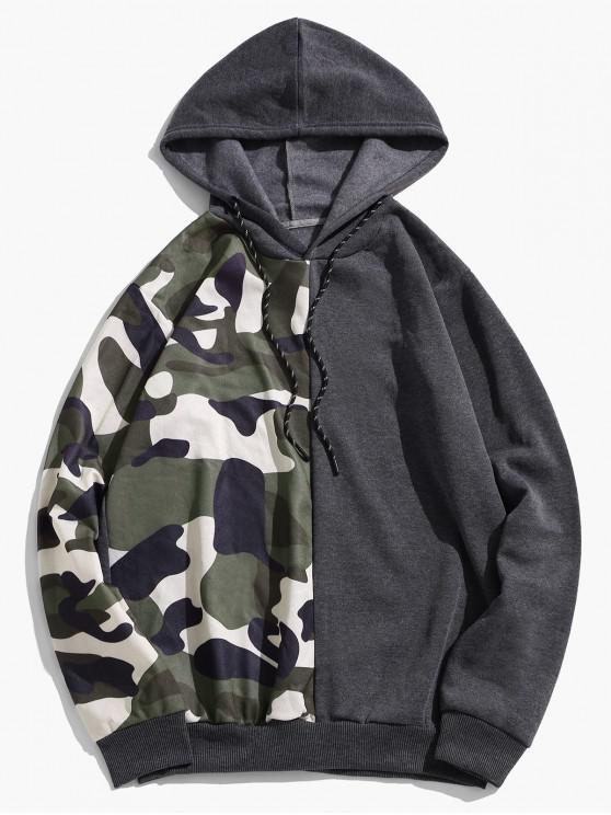 trendy Camouflage Print Colorblock Splicing Fleece Drawstring Hoodie - GRAY XL