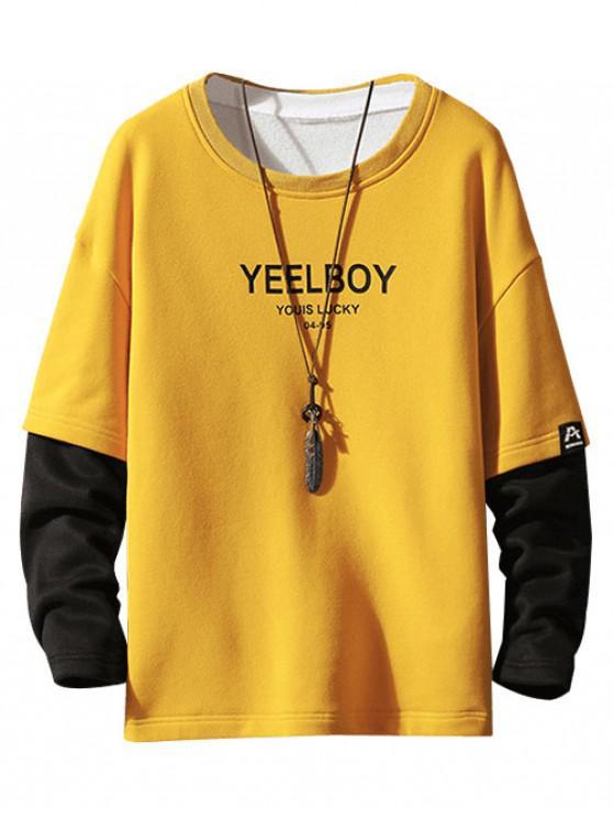 fancy Color Blocking Letter Print Faux Twinset Fleece Sweatshirt - YELLOW XL