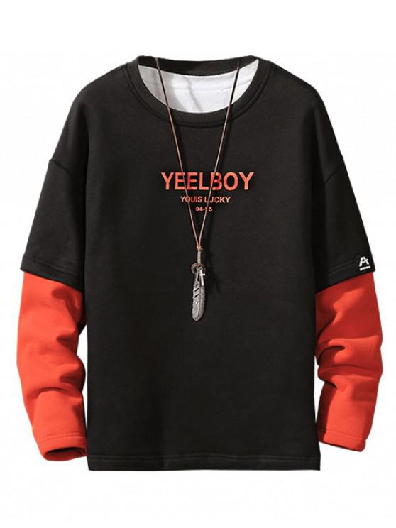 womens Color Blocking Letter Print Faux Twinset Fleece Sweatshirt - BLACK L