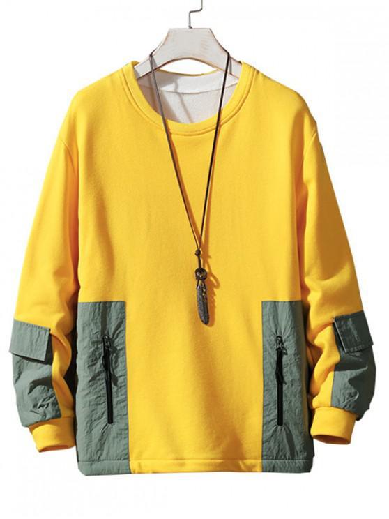 shop Colorblock Spliced Patch Crew Neck Sweatshirt - YELLOW L