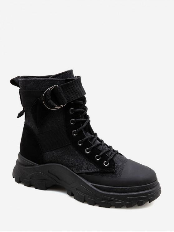 online Belted Accent Canvas Cargo Boots - BLACK EU 43