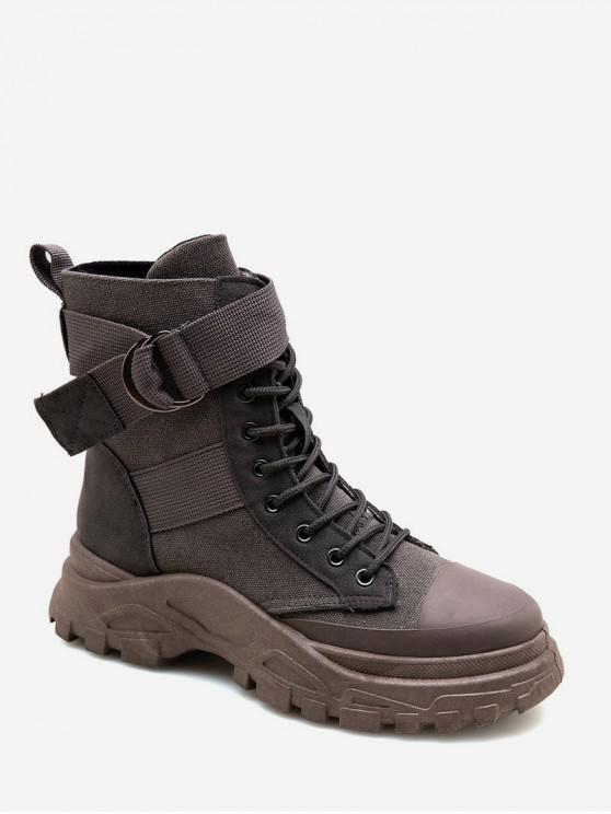 new Belted Accent Canvas Cargo Boots - GRAY EU 43