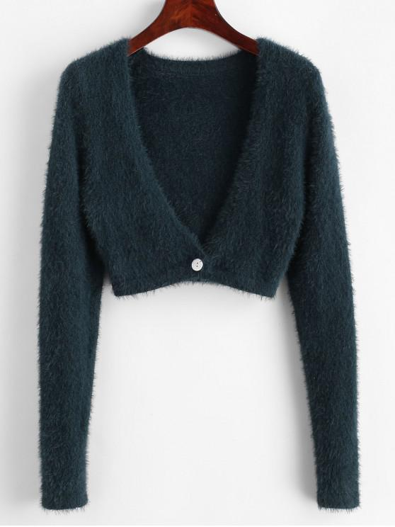 fancy Cropped Fuzzy One Buttoned Cardigan - GREEN L