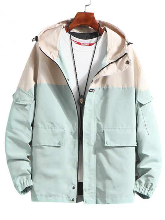 latest Letter Pattern Pocket Decorated Hooded Jacket - LIGHT CYAN XL