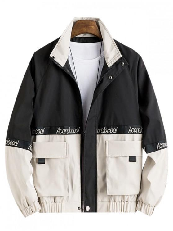 lady Colorblock Spliced Embroidery Letter Character Jacket - LIGHT KHAKI 3XL