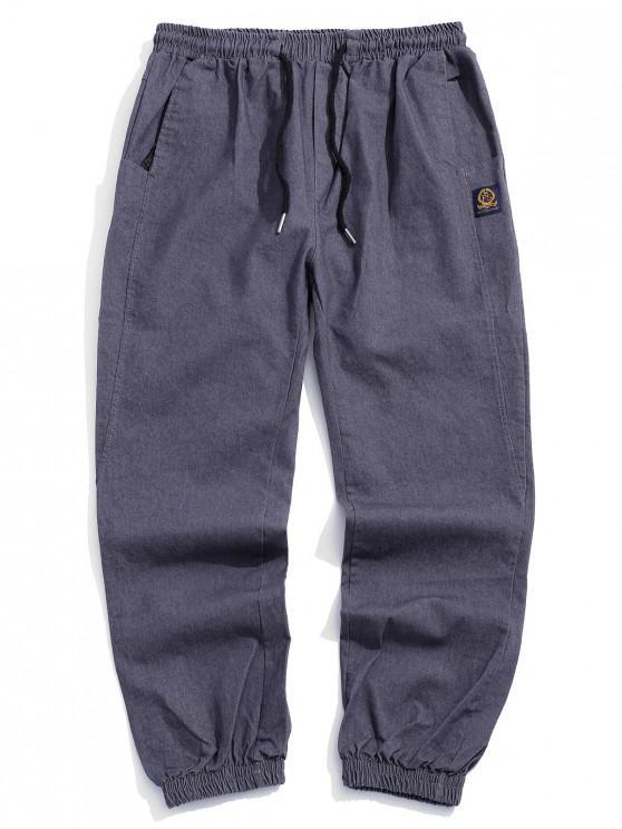 women's Letter Pattern Drawstring Pocket Design Pants - GRAY XS