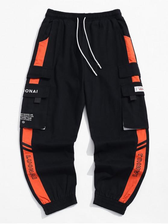 Принт буквы Со шнуровкой Карман Повседневные Брюки - Тыква-оранжевый XL