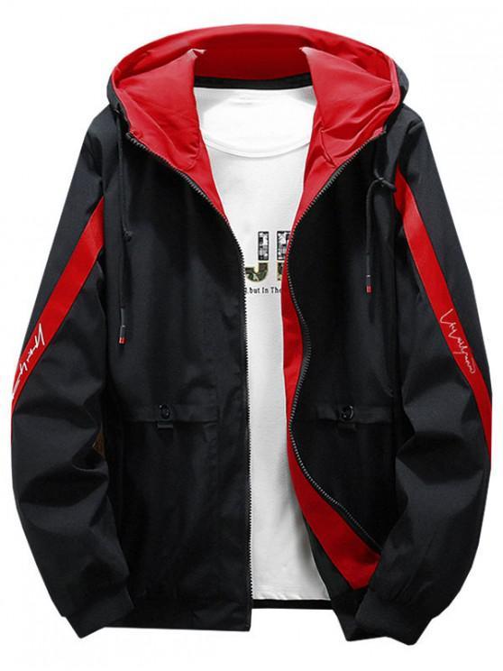 buy Color Blocking Spliced Letter Print Hood Jacket - RED L