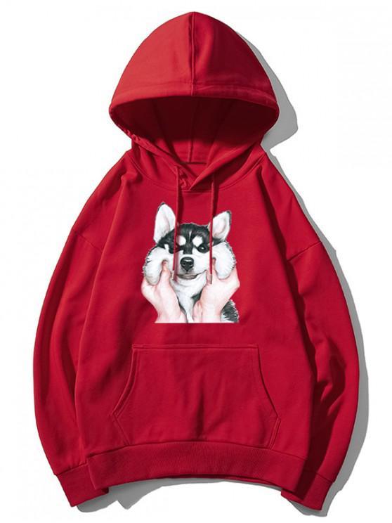 online Dog Print Basic Drop Shoulder Drawstring Hoodie - RED L