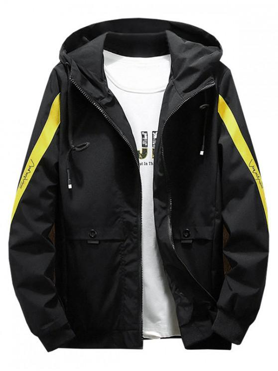 outfit Color Blocking Spliced Letter Print Hood Jacket - YELLOW S