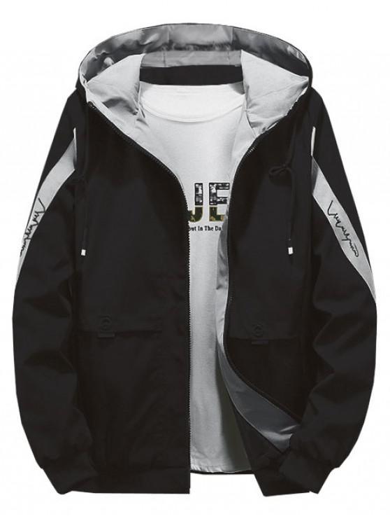 trendy Color Blocking Spliced Letter Print Hood Jacket - GRAY L