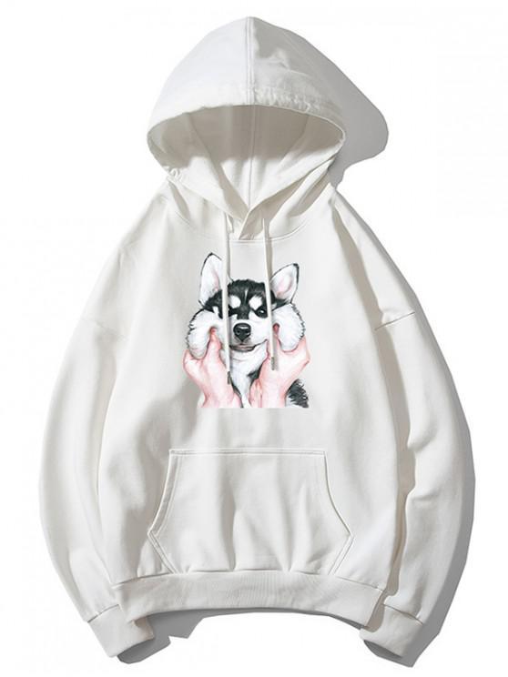 shop Dog Print Basic Drop Shoulder Drawstring Hoodie - WHITE S