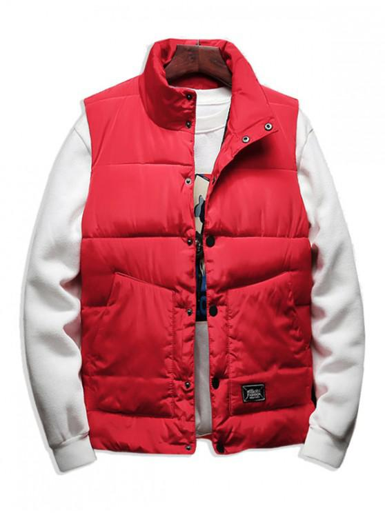 women's Solid Color Button Decorated Padded Waistcoat - RED L