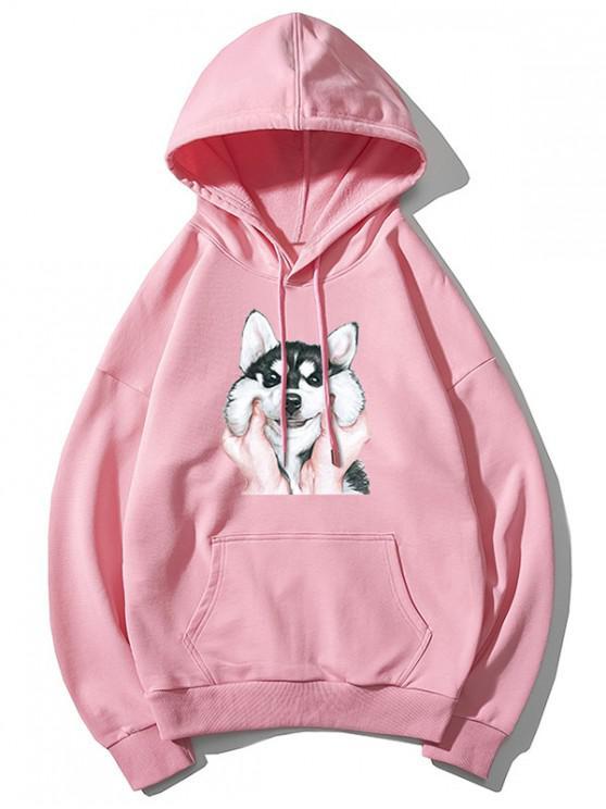 buy Dog Print Basic Drop Shoulder Drawstring Hoodie - PINK M