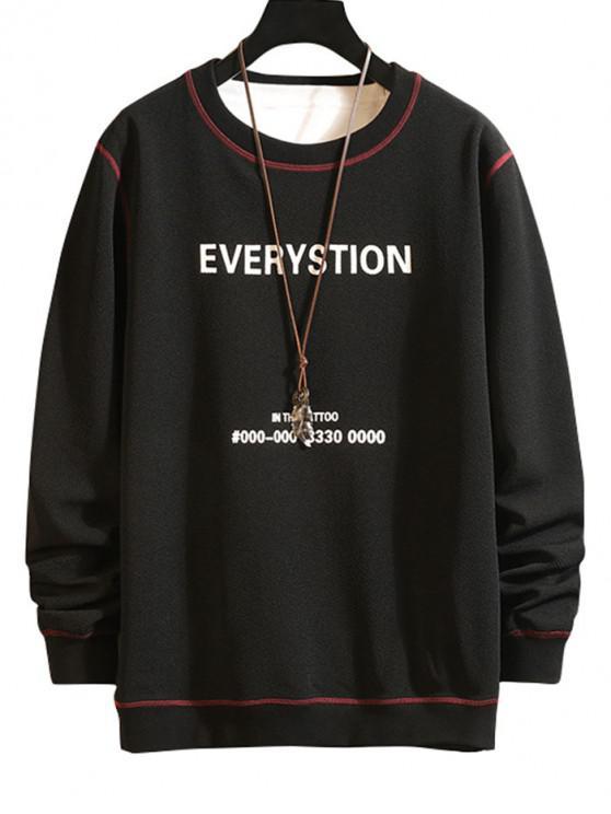 Scrisoare Grafica Print Contrast Cusătura Sweatshirt - Negru M