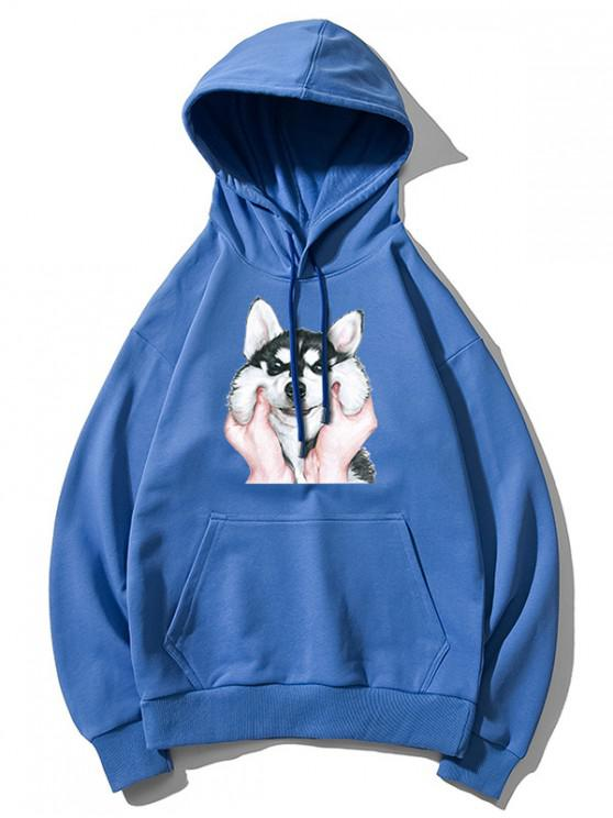latest Dog Print Basic Drop Shoulder Drawstring Hoodie - BLUE M