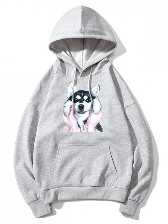 unique Dog Print Basic Drop Shoulder Drawstring Hoodie - GRAY 3XL
