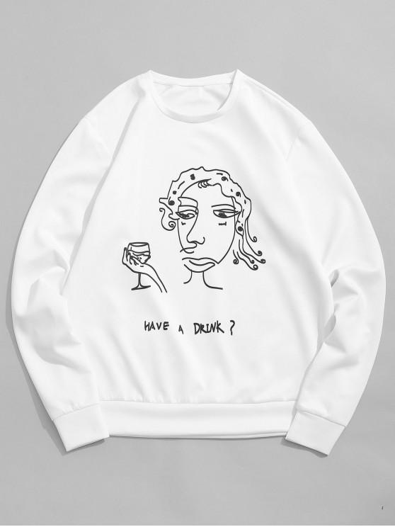 trendy Funny Cartoon Letter Print Casual Sweatshirt - WHITE L
