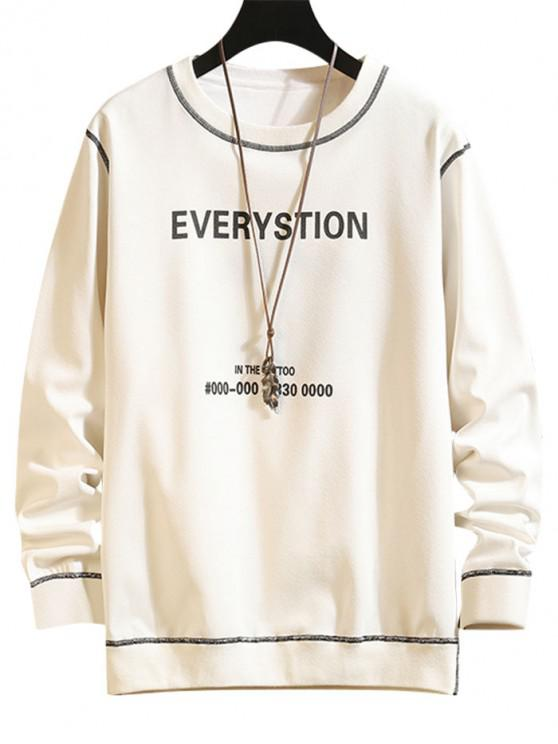 Scrisoare Grafica Print Contrast Cusătura Sweatshirt - alb XL