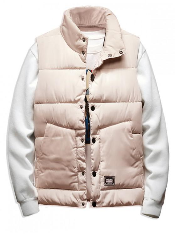 new Solid Color Button Decorated Padded Waistcoat - WARM WHITE S