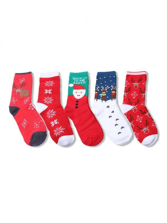 5 пара Рождественский принт оленя и деда мороза Носки Набор - Многоцветный-A