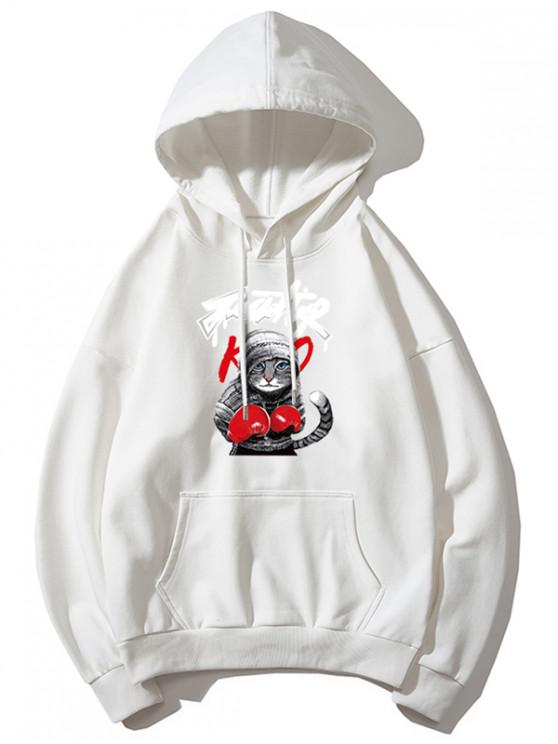 outfit Cat Boxing Letter Print Drop Shoulder Basic Hoodie - WHITE 3XL
