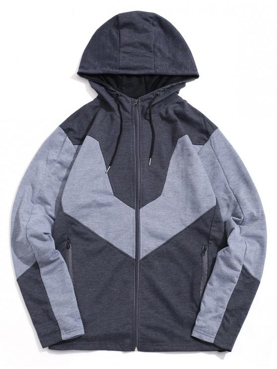 shop Color Spliced Zip Up Casual Hoodie - DARK GRAY XS