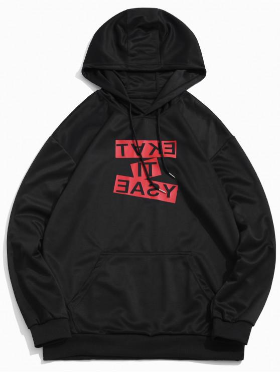 sale Contrast Letter Print Drawstring Casual Hoodie - BLACK M