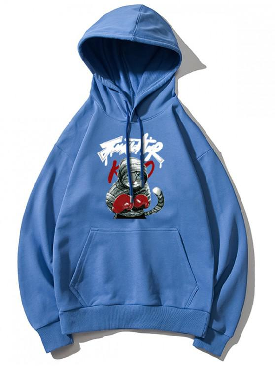 best Cat Boxing Letter Print Drop Shoulder Basic Hoodie - BLUE M
