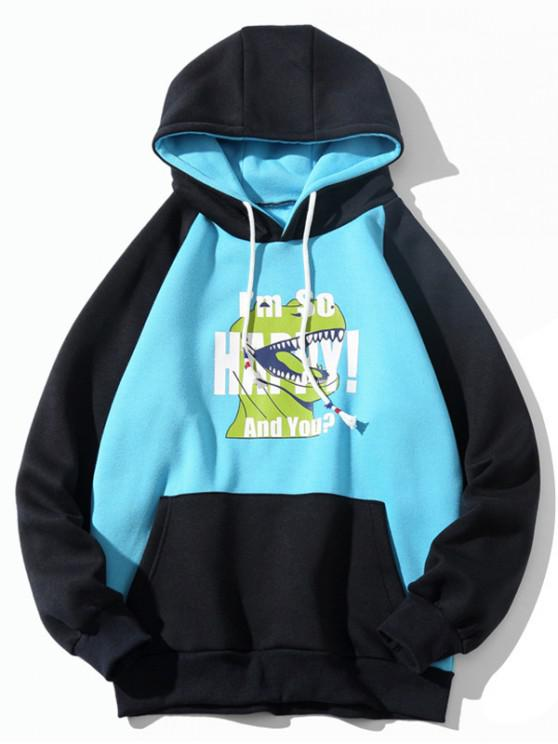 new Colorblock Dinosaur Letter Print Raglan Sleeve Fleece Hoodie - SKY BLUE XL