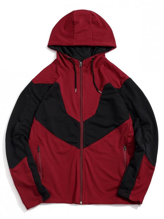 outfits Color Spliced Zip Up Casual Hoodie - RED L
