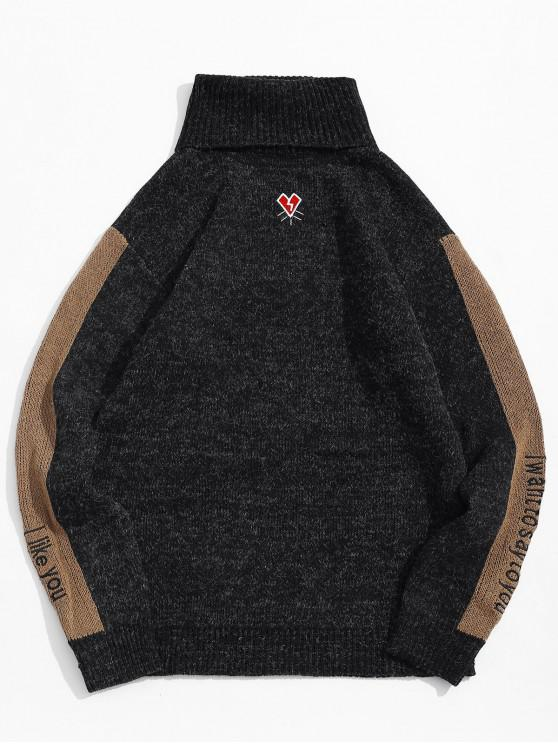 trendy Letter Embroidered Color Spliced Casual Sweater - BLACK S
