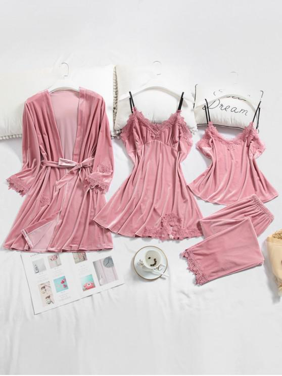 trendy Lace Panel Velvet Pajama Set - PINK L