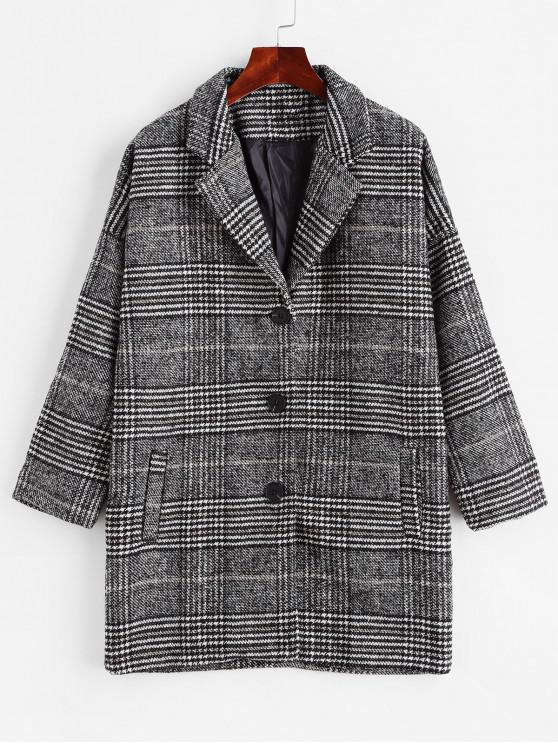 fancy Houndstooth Drop Shoulder Pocket Longline Coat - DARK GRAY S
