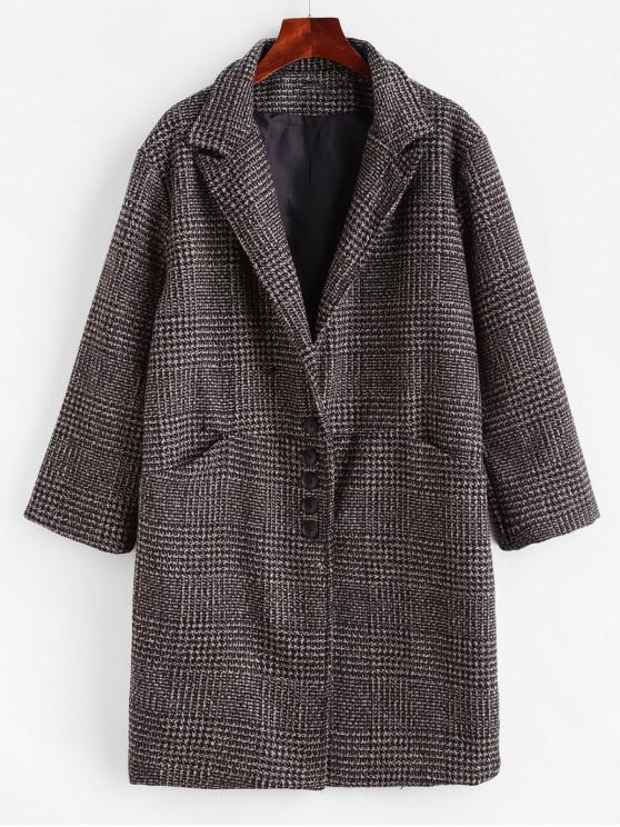 hot Tweed Lapel Pocket Longline Coat - DEEP COFFEE XL