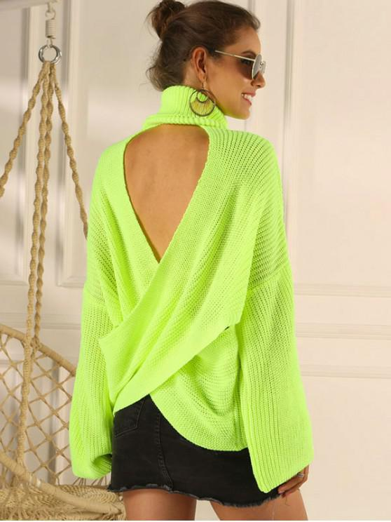 shop Overlap Back Turtleneck Neon Sweater - GREEN M